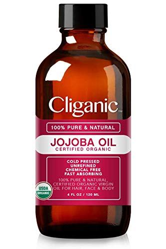 Cliganic Usda Organic Jojoba Oil, 100% Pure (4oz Large) | Natural Cold Pressed Unrefined Hexane Free