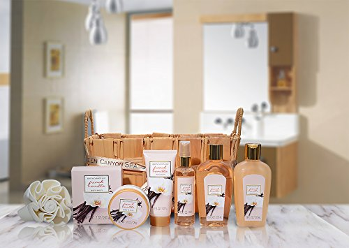 Mothers Day Gifts, Relaxing Spa Gift Baskets For Women, Luxury French Vanilla 8 Pc At Home Spa Set,