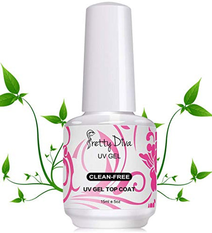 PrettyDiva No Wipe Top Coat - 0.5 Oz No Cleanse UV Led Light Cured Required High Gloss Soak Off Gel Nail Polish Top Coat - Clear