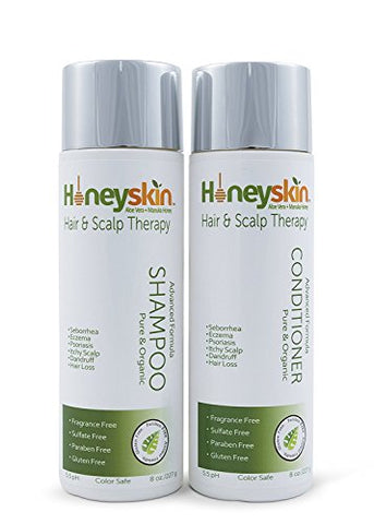 Hair Growth Shampoo And Conditioner Set   With Manuka Honey, Aloe Vera And Coconut Oil   For Frizzy,