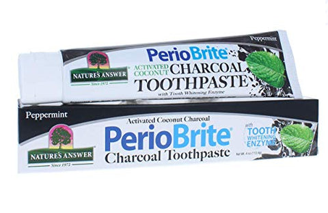 Nature's Answer Periobrite Activated Charcoal Toothpaste | Tooth Whitening, Plaque Removing, Pepperm