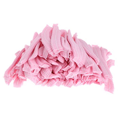 Forgu 100pcs Microblading Accesories Makeup Hair Net Caps for Eyebrow Tattooing (Pink)