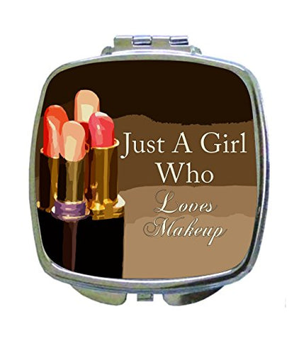 Just a Girl Who Loves Makeup - Expression - Lipstick Design - Compact Square Makeup/Face Mirror