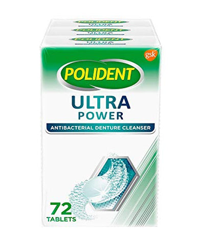 Polident Retainer, Denture Cleaner Tablets Ultra Power Denture, Mouth Guard Cleanser, 72 Count (Pack