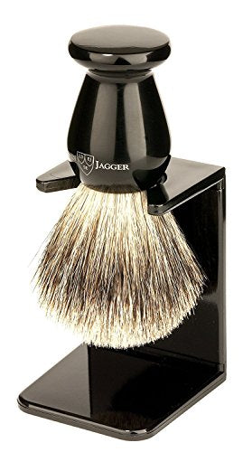 Edwin Jagger Best Badger Shaving Brush with Drip Stand, Imitation Ebony, Medium