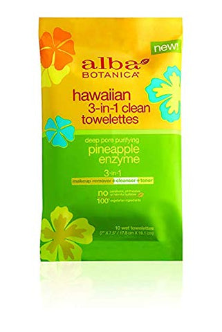 Alba Botanica Hawaiian, 3-In-1 Clean Towelettes, 80 Count Great For Travel (8 Packettes of 10ct)