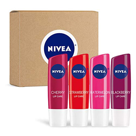 Nivea Lip Care Fruit Variety Pack   Tinted Lip Balm For Beautiful, Soft Lips   Pack Of 4