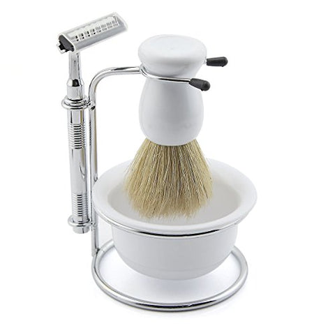 Owfeel Portable Men Shaving Set Shaver Beard Brush Kit With Five Razor and Soap Dish Stand Bowl (white)