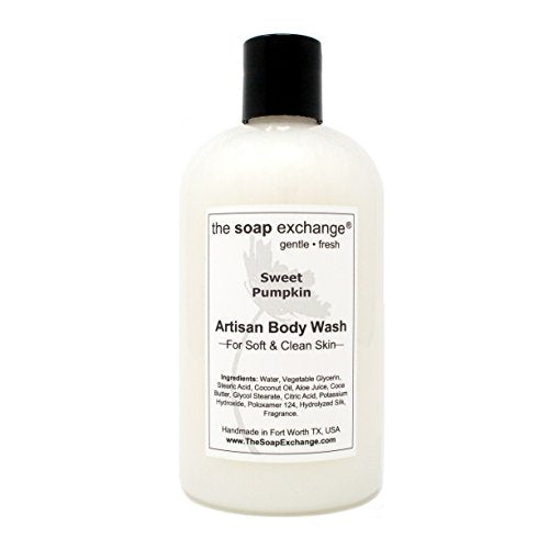 The Soap Exchange Body Wash - Sweet Pumpkin Scent - Hand Crafted 12 fl oz / 354 ml Natural Artisan Liquid Soap for Hand, Face & Body, Shower Gel, Cleanse, Moisturize, Protect. Made in the USA.