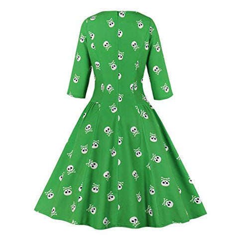 HNTDG Women's Halloween Retro Dress Skull Print Dress Round Neck Zipper Pocket Hepburn Party Dress Green