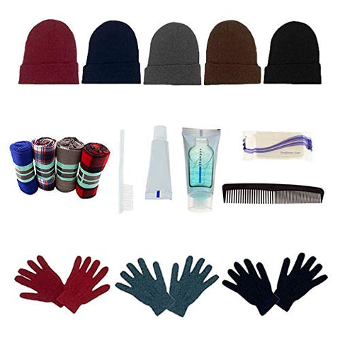 Homeless Care Package Supplies - Bulk Case of 12 Glove Pairs, 12 Hygiene Kits, 12 Winter Throw Blankets, 12 Beanies
