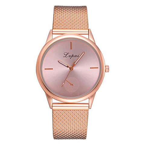 AMOUSTORE Women's Casual Luxury Stainless Steel Quartz Watch with Silicone Strap (Rose Gold)