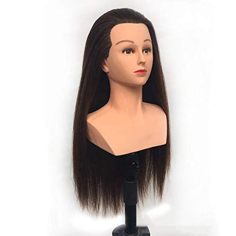 Training Head 24 inch Training Head With Shoulder High Grade Hairdressing Head Dummy Long Hair Mannequin Head