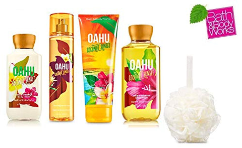 Bath and Body Works OAHU Deluxe Gift Set Lotion ~ Cream ~ Fragrance Mist ~ Shower Gel + FREE Shower Sponge Lot of 5