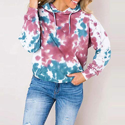 HNTDG Women Casual Multicolor Gradual Printed Long Sleeve Loose Hoodie Pullover Sweatshirt Blouse Sky Blue