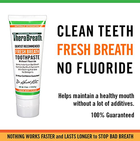Thera Breath Fresh Breath Toothpaste Fluoride Free Formula, Mild Mint Flavor, 4 Ounce Tube (Pack Of 2