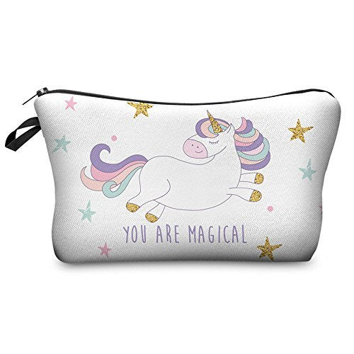 Zaone Women Makeup Bags 3 D Printing Zipper Cosmetic Bag With Multicolor Pattern Cute Unicorn Collect