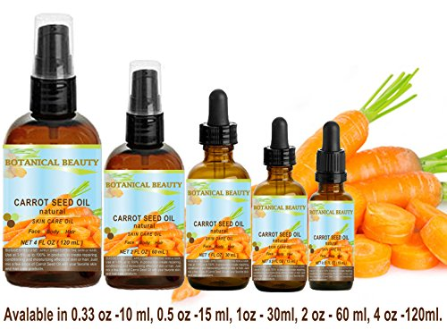 CARROT SEED OIL 100 % Natural Cold Pressed Carrier Oil. 0.33 Fl.oz.- 10 ml. Skin, Body, Hair and Lip