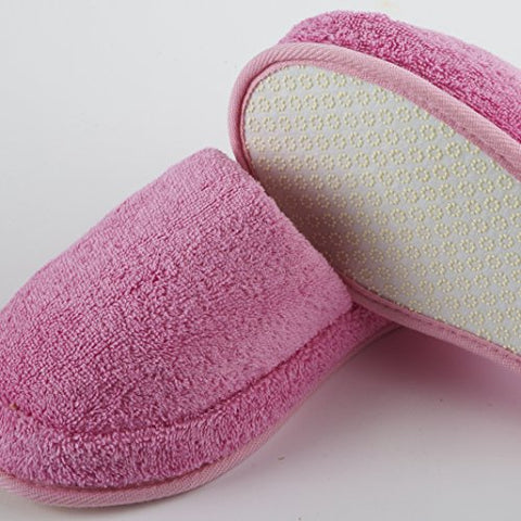 Turkish Luxury Spa Slippers for Men and Women, 100% Cotton Terry House Slippers Indoor/Outdoor, Made in Turkey (Large, Pink)