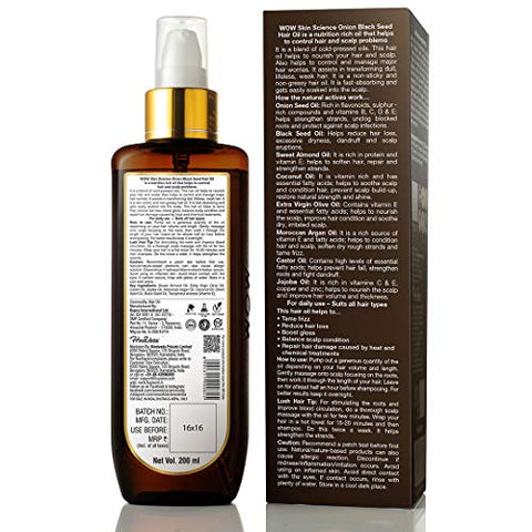 Wow Onion Black Seed Hair Oil For Natural Hair Care & Growth   Essential Vitamins In Almond, Castor,