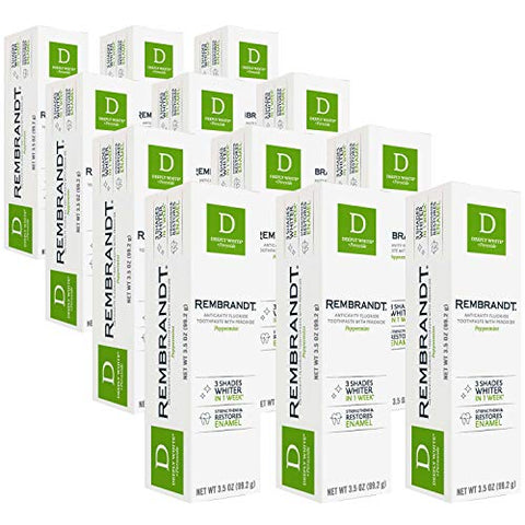 Rembrandt Deeply White + Peroxide Whitening Toothpaste, Peppermint Flavor, 3.5 Oz (12 Pack)