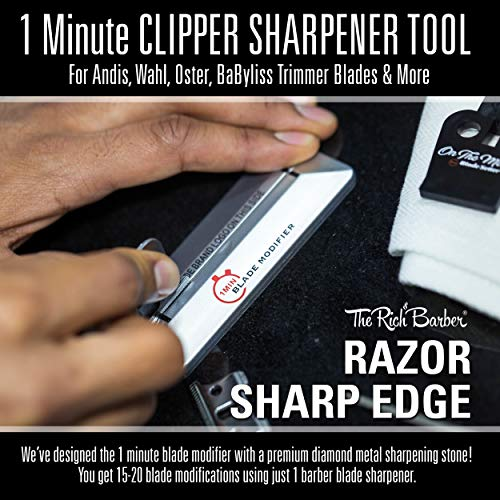 The Rich Barber 10 Second Blade Setter & 1 Minute Blade Modifier Set | Zero Gap Tool & Trimmer Sharp