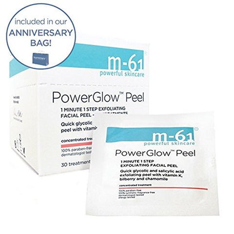 M 61 Power Glow Peel  10 Treatments  1 Minute, 1 Step Exfoliating Glow Peel With Glycolic, Vitamin K