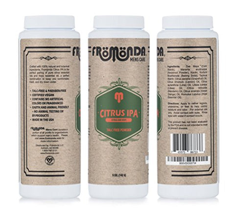 Fromonda (Citrus IPA) Body Powder Unisex (5 oz. 3-Pack) Talc-Free, Anti-Chafing, Sweat Defense with Essential Oils