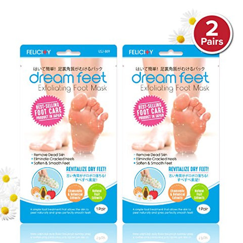 Dream Feet Exfoliating Foot Peeling Mask with All-Natural Extracts (2 Pairs)