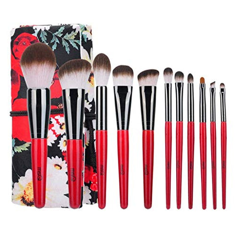 WEIDA Makeup Brushes Advanced Kabuki Cosmetics Tool Eyebrow Lips Eye Shadow Foundation Brush Elegant (11 Pieces, Red Black)