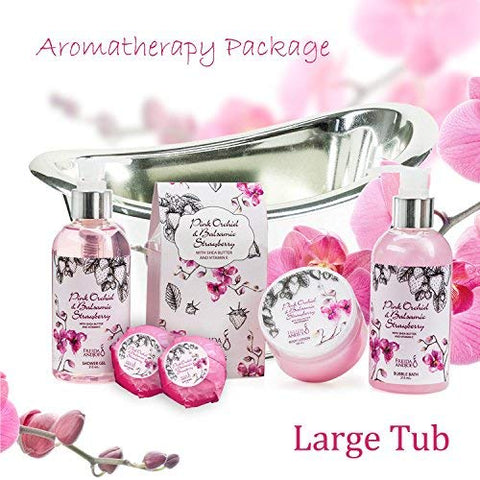 Bath, Body, and Spa Gift Set for Women, in Pink Orchid and Balsamic Strawberry Fragrance, includes Bath Bombs, Skincare Lotion, Bath Salts, Bubble Bath, and Shower Gel, with Shea Butter and Vitamin E