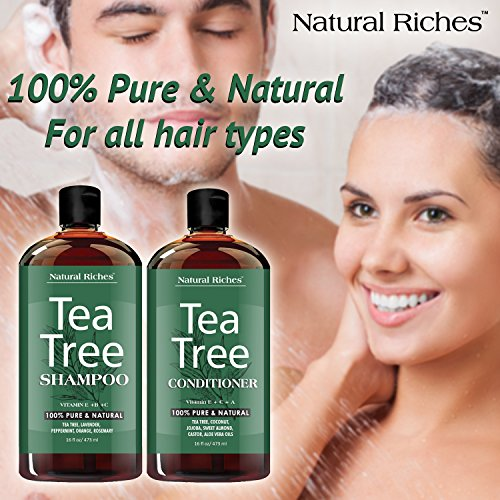 Natural Riches Tea Tree Shampoo And Conditioner Set With 100% Pure Tea Tree Oil, Anti Dandruff For I
