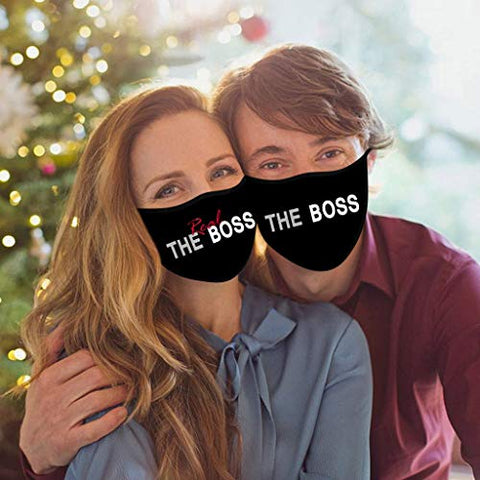 Owill Wedding Couples Matching Cotton Face Bandanas - Bride & Groom - Mr Mrs Washable Reusable Anti-Dust Windproof Face Protections (The Boss & The Real Boss)