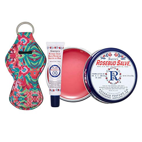 Smiths Rosebud Salve, Lip Balm and Lip Balm Holder Keychain Bundle - Natural Lip Care Moisturizer, All-Purpose and Case for Teens, Women and Men (Rosebud Salve)
