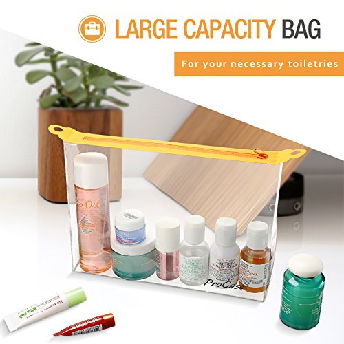 Pro Case Tsa Approved Clear Travel Toiletry Makeup Bag Pouch, Handy Quart Sized Zipper Bag Airport Fl