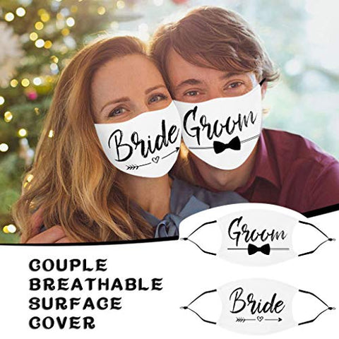 Owill Wedding Couples Matching Cotton Face Bandanas - Bride & Groom - Mr Mrs Washable Reusable Anti-Dust Windproof Face Protections (Groom & Bride)