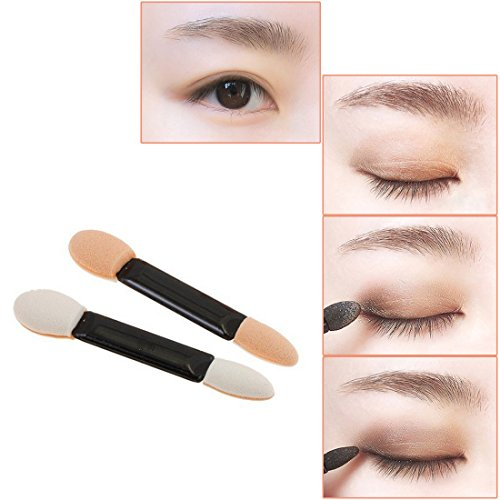 KINGMAS 100 Pack Disposable Double Ended Sponge EyeShadow Brushes Oval Applicator Makeup Tools