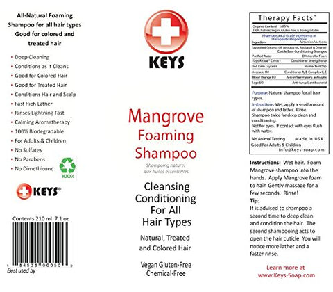 Keys Mangrove All Natural, Vegan, Chemical Free Foaming Shampoo And Scalp Treatment, Cleansing Condi