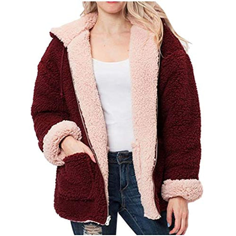 Xinantime Womens Reversible Coats Solid Faux Fur Hooded Plush Zipper Pocket Cardigan(Red,XL)