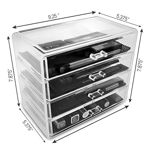 Sorbus Acrylic Cosmetics Makeup and Jewelry Storage Case Display?? 4 Large Drawers Space- Saving, Stylish Acrylic Bathroom Case Great for Lipstick, Nail Polish, Brushes, Jewelry and More (Clear)