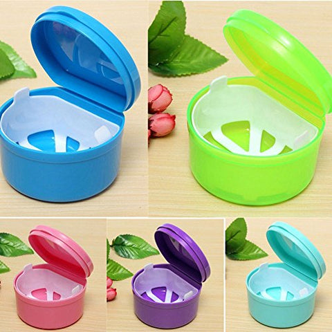 yingyue Portable Durable Candy Color Double Layers Dentures Storage Case Container Green