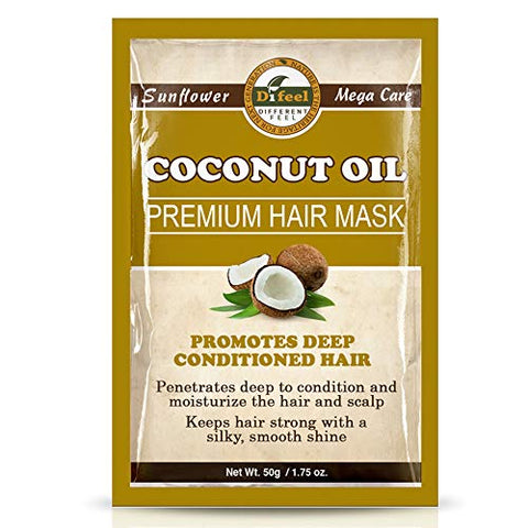 Difeel Premium Deep Conditioning Hair Mask - Coconut Oil 1.75 ounce (Pack of 6)