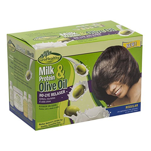 Milk Protein & Olive Oil No Lye Hair Relaxer Regular Strength Kit   Conditions, Strengthens, Smooths
