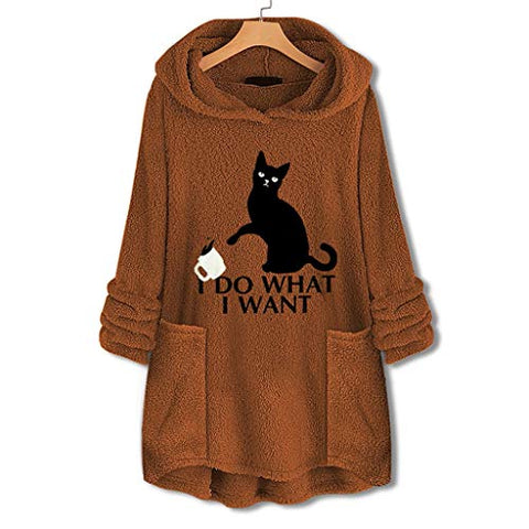Cenlings Women Plus Size Fleece Embroidery Cat Print Hoodie Loose Long Cat Ear Party Top Sweater Faux Fur Blouse with Pocket(Yellow,XXXL)