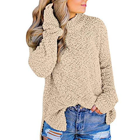 Xinantime Womens Casual Stand Collar Side Split Full Sleeve Teddy Velvet Jumper Outwears Top Blouse(Beige,L)