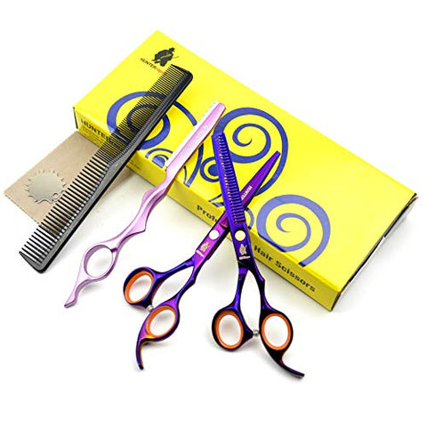 HUNTERrapoo HT9162 6 inch' Hairdressing Scissors Set Purple Hair Razor Thinning Scissors Beauty Barber Cutting Shears Hair clipper Trimmer