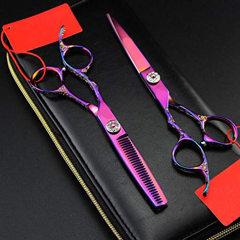 Left Handed hair scissors, hairdressing scissors color professional hairdressing scissors flat scissors + tooth scissors 6 inches