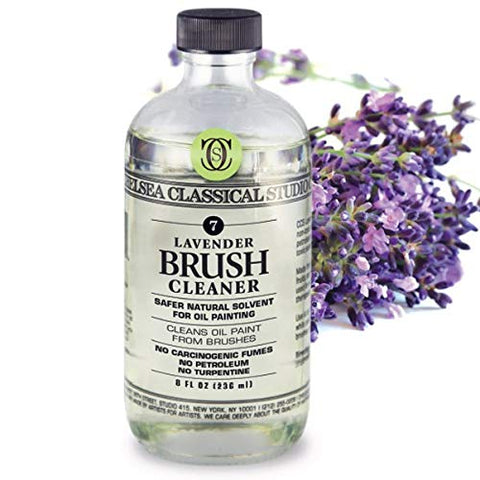 Chelsea Classical Studio Lavender Essence Brush Cleaner for Making Paintbrush Hair Subtle Maintaining Maximum Working Quality - [16 oz. Bottle]