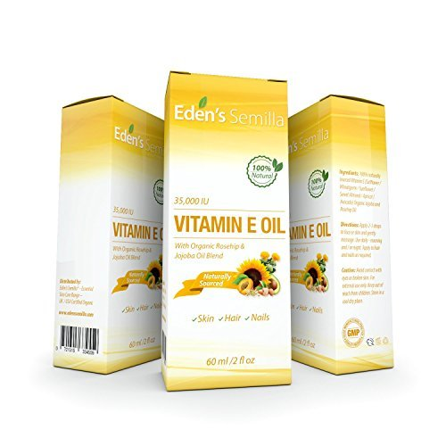 100% Plant Extract Vitamin E Oil 35,000 Iu + Organic Rosehip & Jojoba Blend   2 Oz Bottle. Fast Abso