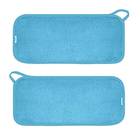 Miracle Face Erase 2 Pack Makeup Remover Face Cloths, Chemical-free, Microfiber, 6 Hair Ties (2 Count, Sapphire)